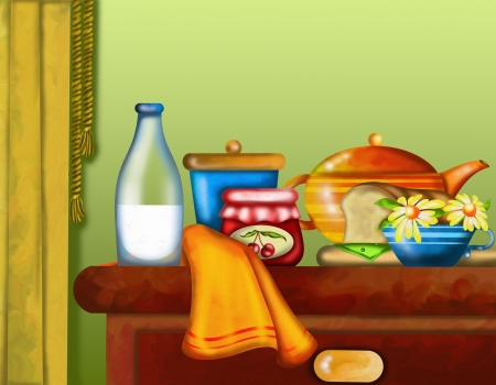 background with table and breakfast photo