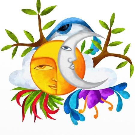 zon maan: achtergrond met zon en maan symbolen van de natuur