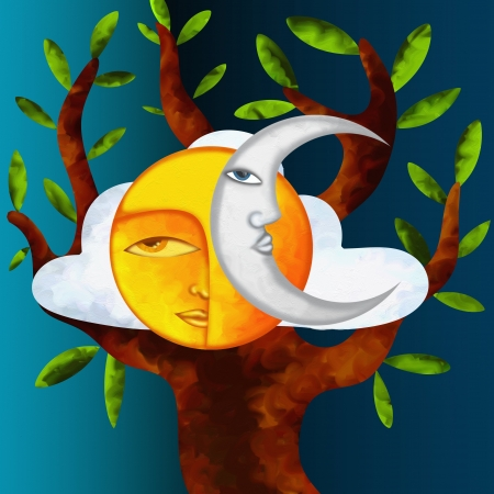 background with sun moon and tree Stock Photo - 18290473