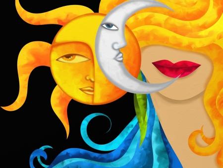sol y luna: fondo con la cara de la mujer y el sol y la luna Foto de archivo