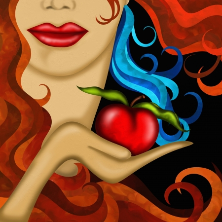 Face of woman and red apple photo