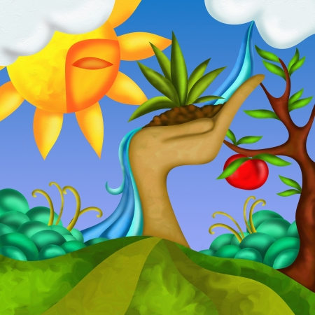 fantasy background with apple tree photo