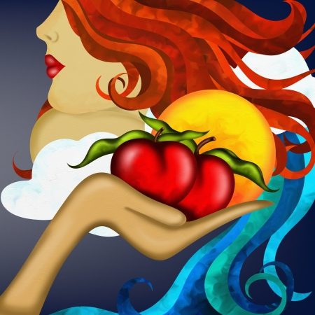 sin: abstract background with mother nature and red apples