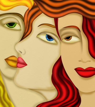 artistic woman: abstract background with womens faces Stock Photo