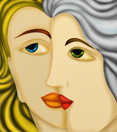 design with two womens faces photo