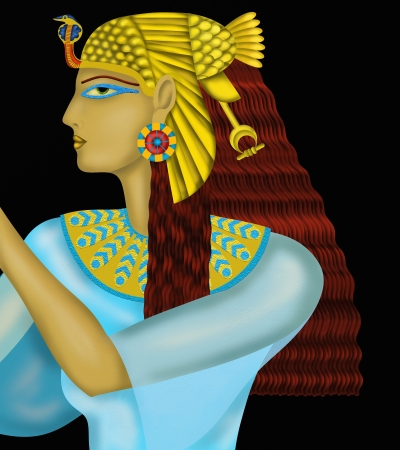 ceremonial makeup: black background with the Egyptian queen