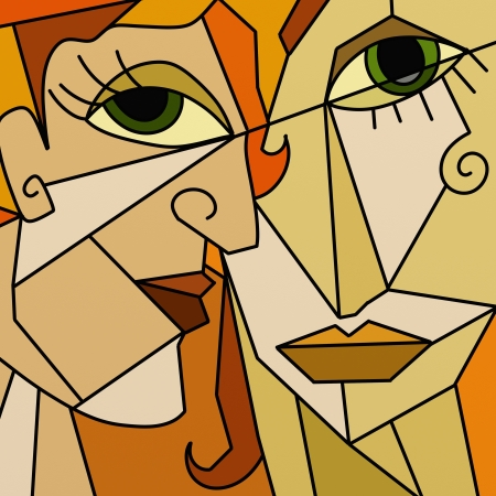 perfil de mujer rostro: dise�o con dos caras abstracto