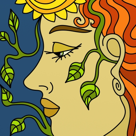 design with womans face and green leaves photo
