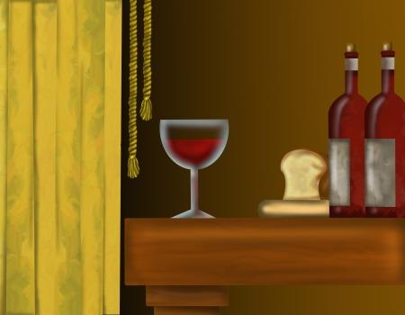 dibujo con botellas de vino y de vidrio Foto de archivo - 19631084