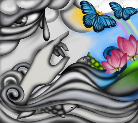 abstract background with colorful butterflies and rainbow photo