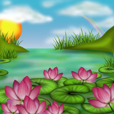 landscape with marsh and water lilies Stock Photo - 19847674