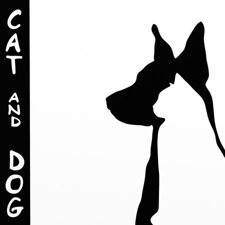 silueta de gato: fondo con el gato y la silueta del perro