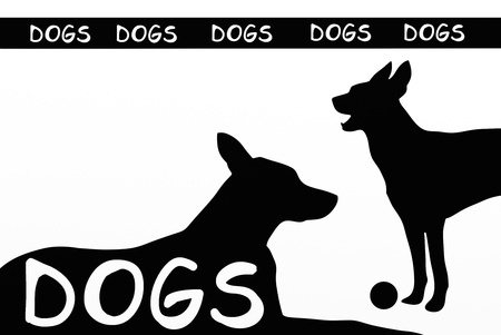 background with sagoms of two dogs photo