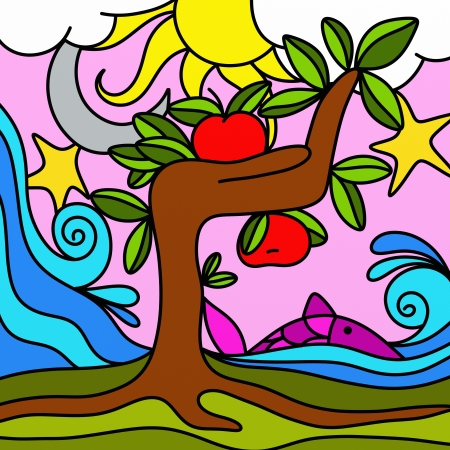 drawing tree with red apples photo