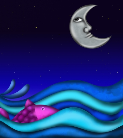background with the sea at night photo