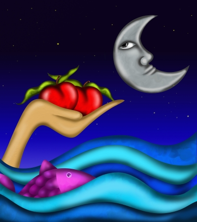 background with red apples and sea photo