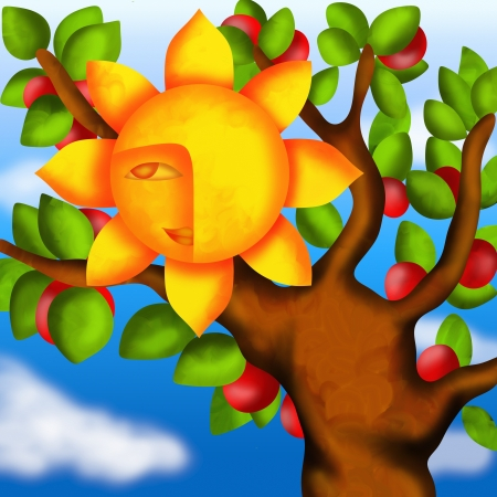 design with apple tree and sun photo