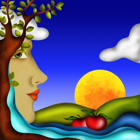 abstract design with mother nature and apples Stock Photo - 21427286