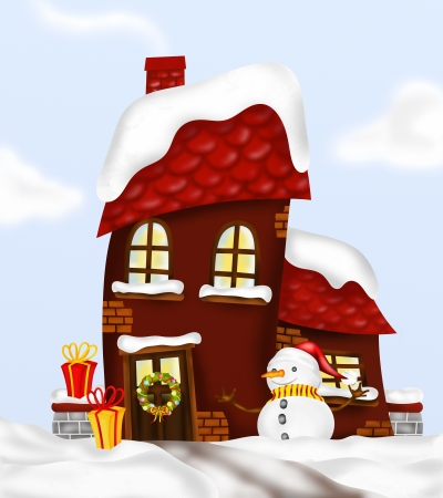 house with snowman and decorations photo