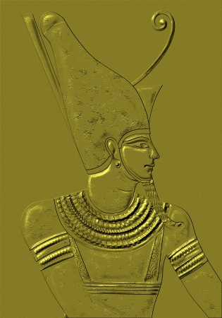 ceremonial makeup: drawing with Egyptian god and black background Stock Photo