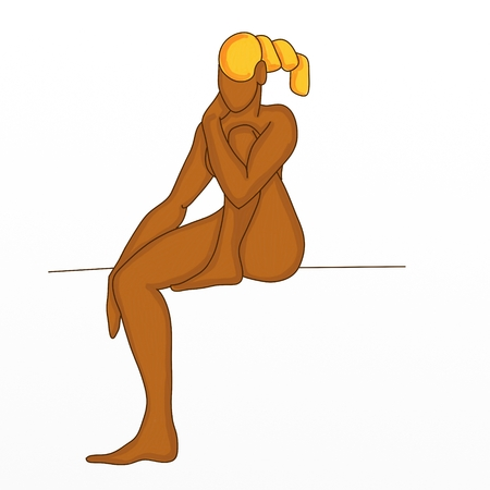 naked woman sitting: abstract design with naked body of the woman sitting with white background