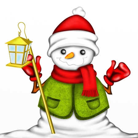 snowman with red hat and lantern photo