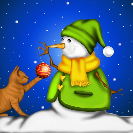 snowman with red kitten playing with decorations photo