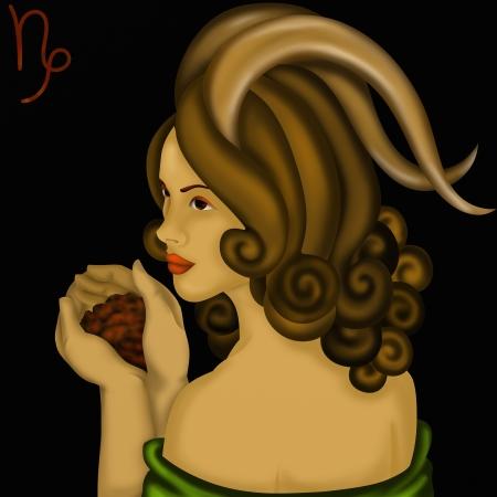 capricornus: Zodiac signs with womens faces- Capricornus Stock Photo