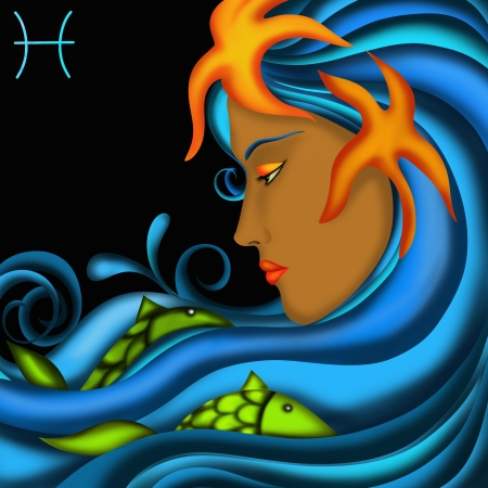 Zodiac signs with womens faces- Pisces photo