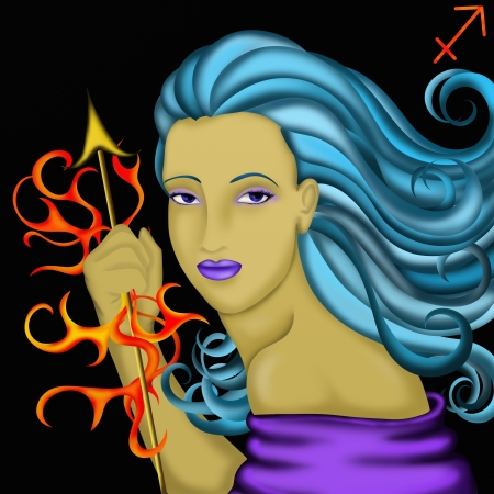 jupiter light: Zodiac signs with womens faces- Sagittarius