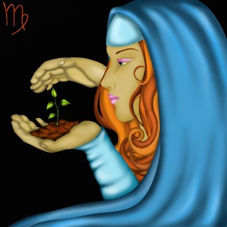 astrologie: Tierkreiszeichen mit Gesichter von Frauen-Jungfrau Lizenzfreie Bilder