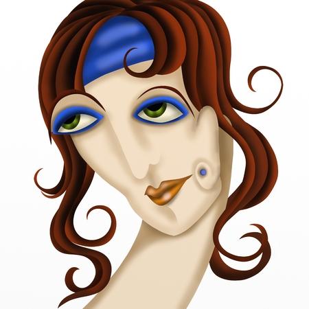 mujer fea: mujer fea con el pelo casta�o Foto de archivo