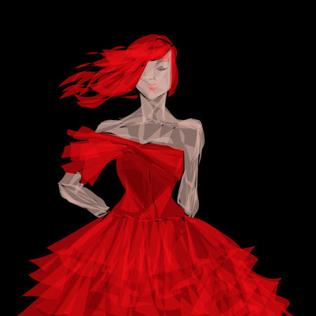 red evening: red evening dress Stock Photo