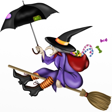 epiphany: old lady witch with umbrella Stock Photo