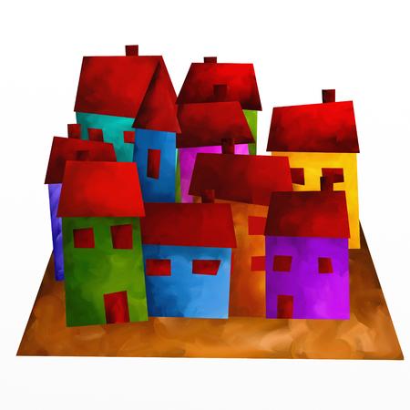 case colorate: disegno con case colorate Archivio Fotografico