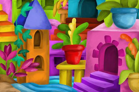 case colorate: Astratta con le case di fantasia colorata