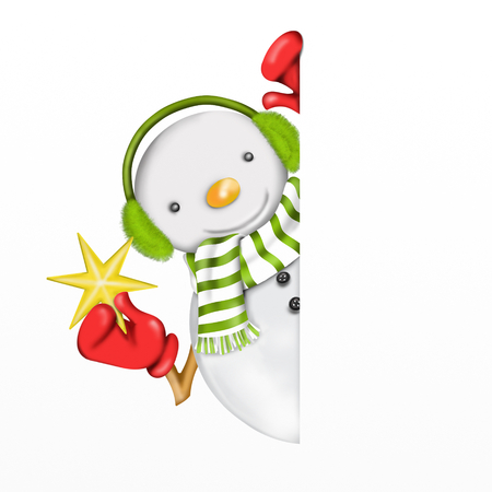 warmers: snowman with star Stock Photo