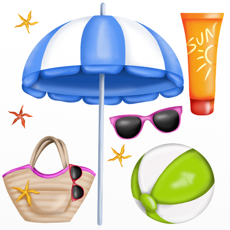 objects: beach objects Isolated
