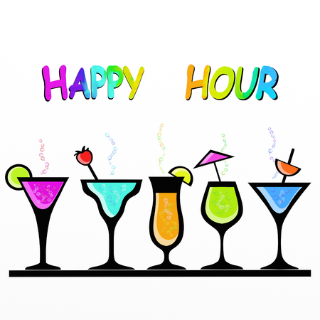 happy hour drink: illustration with colorful cocktail glasses