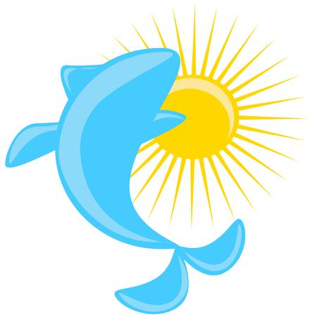 slogans: vector slogans dolphin and sun Illustration