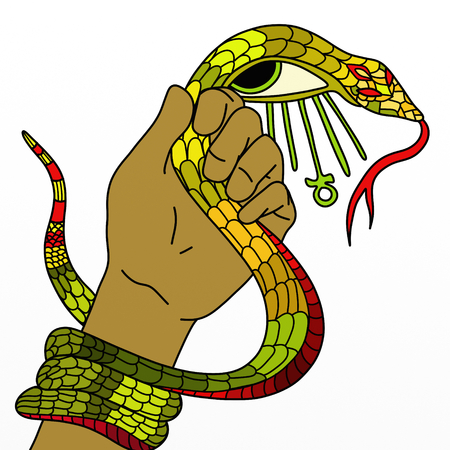 ankh: abstract with a snake in his hand and ankh Stock Photo