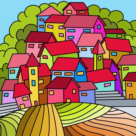 case colorate: cartolina con case colorate in collina