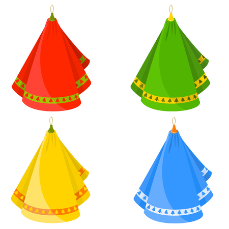 Vector decorated with four colored dishcloths