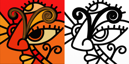 forecasts: Abstract zodiac sign in color and in black and white - Aries