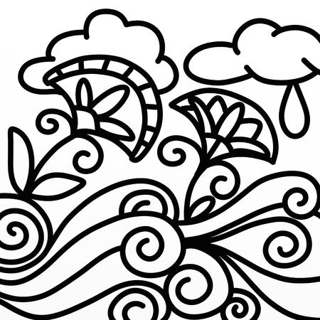 Design Mit Abstrakter Blume In Schwarz Und Weiß Lizenzfreie Fotos ...
