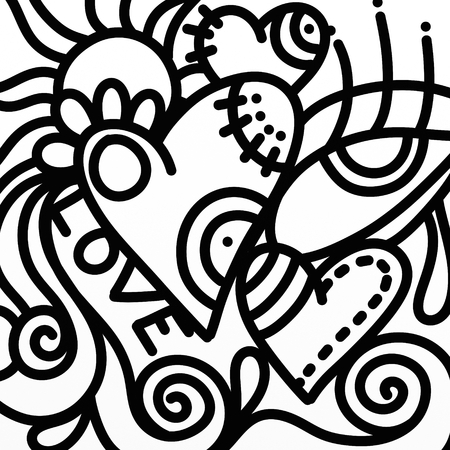abstract heart: abstract design with heart and eye in black and white