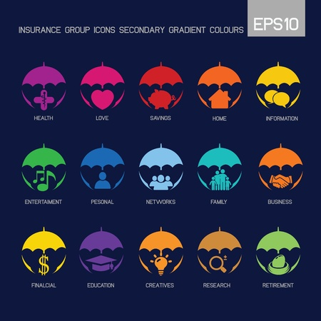 secondary: Umbrella - group icons secondary gradient colour  Illustration