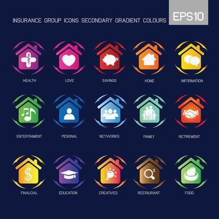 prisme: Accueil - groupe d'assurance ic�nes couleur secondaire Illustration