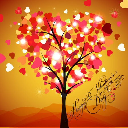 Happy Valentine s Day Card Vector - Tree Heart Stock Vector - 12493046