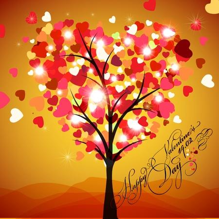 Happy Valentine s Day Card Vector - Tree Heart Stock Vector - 12493046